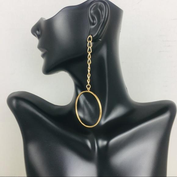 BP. Chain Gold Tone Drop Hoop Earrings